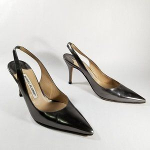 Manolo Blahnik Metallic Gray Pointy Toe Slingbacks
